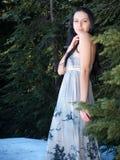 摆在妇女的美丽的礼服森林 免版税库存照片