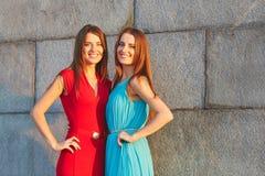 摆在对一个石墙的两个美丽的姐妹 免版税图库摄影