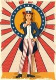 摆在山姆大叔的减速火箭的妇女我想要您 免版税库存照片