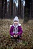 摆在干草的秋天森林里的逗人喜爱的小女孩 库存照片