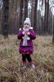 摆在干草的秋天森林里的逗人喜爱的小女孩 免版税库存照片