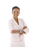 摆在年轻人的女实业家 免版税图库摄影