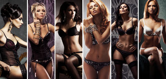 摆在性感的内衣的不同的时装模特儿 免版税库存照片