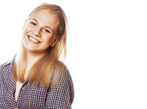 摆在情感愉快微笑在白色背景,生活方式人概念的年轻人相当白肤金发的少年行家女孩 图库摄影