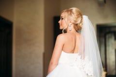 摆在摄影师的美丽的白肤金发的新娘 库存图片