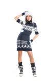 摆在斯堪的纳维亚衣裳的一个少妇 库存图片
