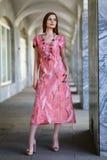 摆在无缝的礼服的年轻美丽的女孩 免版税库存照片
