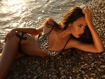 摆在日落海滩的比基尼泳装的美丽的女孩 库存图片