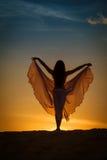 摆在日落的美丽的妇女 免版税库存照片