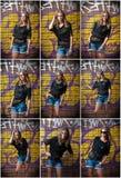 摆在时尚的秀丽女孩在街道上的红砖墙壁附近 有太阳镜的少妇反对街道画 免版税库存图片