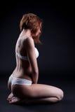 摆在有花边的女用贴身内衣裤的苗条模型外形 库存图片