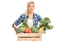 摆在有菜的一个条板箱后的女性农夫 库存图片