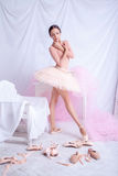 摆在桃红色的专业跳芭蕾舞者 免版税图库摄影