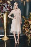 摆在桃红色礼服的美丽的白肤金发的妇女 库存图片