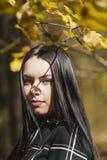 摆在森林里的一个美丽和典雅的浅黑肤色的男人在aut期间 免版税图库摄影