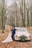 摆在汽车附近的美好的婚礼夫妇在森林里 免版税图库摄影