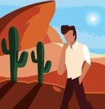摆在沙漠的人 向量例证