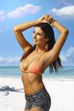 摆在海滩的性感的女孩 免版税库存照片