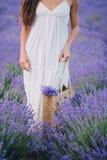 摆在淡紫色领域的美丽的少妇 免版税库存照片