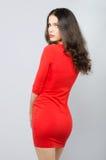 摆在演播室的红色礼服的美丽的典雅的时兴的女孩 图库摄影