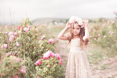 摆在玫瑰园里的儿童女孩 库存图片