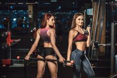 摆在用在健身房的运动器材的两个美丽的年轻健身女孩 摆在与杠铃 库存图片