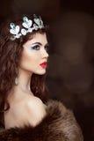 摆在皮大衣的时尚美丽的妇女 冬天女孩模型 免版税库存图片