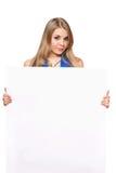 摆在相当白人妇女年轻人的董事会 库存图片