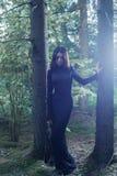 摆在神秘的森林里的美丽的巫婆 免版税图库摄影