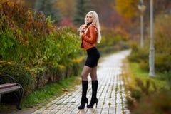 摆在秋天公园的妇女 库存照片