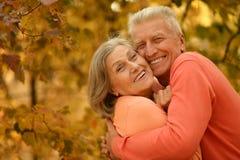摆在秋天公园的老夫妇 免版税库存图片