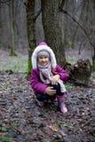摆在秋天森林里的逗人喜爱的小女孩 库存图片
