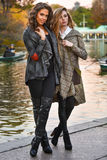 摆在秋天的典雅的外套的两个俏丽的女孩停放 免版税库存照片
