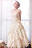 摆在窗口前面的典雅的新娘 库存图片