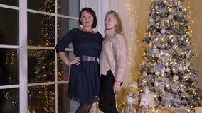 摆在美丽的新年树的愉快的妈妈和女儿少年在舒适屋子里 股票视频