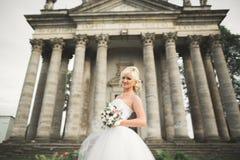 摆在老城堡附近的美丽的时髦的白肤金发的新娘 免版税库存图片