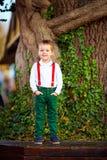 摆在老树前面的逗人喜爱的男孩 免版税库存图片