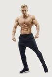 摆在肌肉核心的赤裸上身的男性模型 库存图片