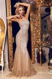 摆在豪华内部的典雅的衣服饰物之小金属片礼服的白肤金发的妇女 免版税图库摄影
