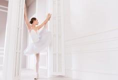摆在门之间的美丽的运动的芭蕾舞女演员 免版税库存图片