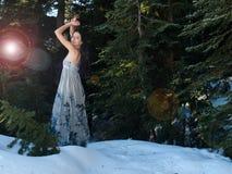 摆在雪妇女的通风美丽的礼服 库存图片