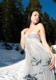 摆在雪妇女的通风美丽的礼服 免版税图库摄影