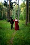 摆在马附近的减速火箭的礼服的美丽的女孩 免版税图库摄影