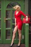 摆在绿色前面的红色性感的礼服的迷人的年轻金发碧眼的女人绘了门框 高跟鞋的肉欲的华美的少妇 免版税库存照片