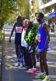 摆在索非亚的最佳的肯尼亚马拉松运动员 库存图片