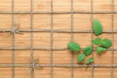 摆正在木背景的被排行的绳索样式并且上升了叶子被交织在它之间 自然题材的纹理 图库摄影