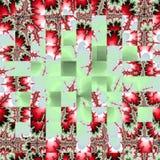 摆正在红色分数维玫瑰的马赛克在绿色背景 向量例证