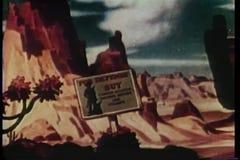 摇摄动画片岩层在沙漠 股票录像