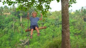 摇摆他的年轻人的慢动作射击一点儿子摇摆在一个热带公园 童年概念 股票录像