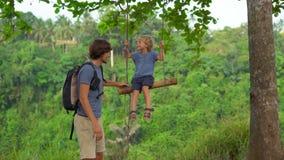 摇摆他的年轻人的慢动作射击一点儿子摇摆在一个热带公园 童年概念 影视素材